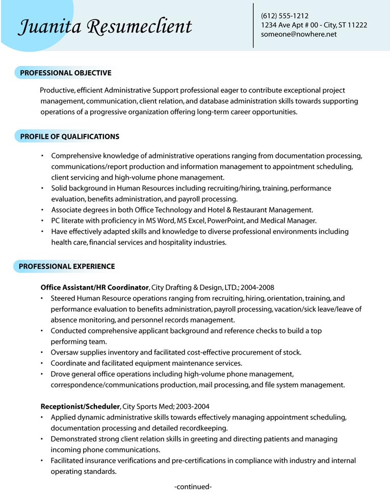 example of an administrative support resume category. Resume Example. Resume CV Cover Letter