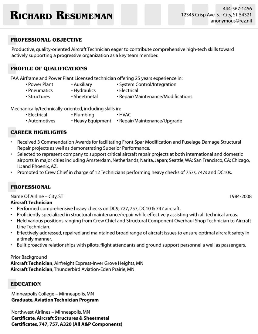 example of an aircraft technicians resume - Aircraft Sheet Metal Mechanic Resume Sample